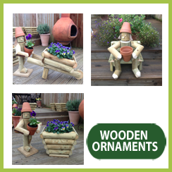 Hand Made Wooden FlowerPot Figures